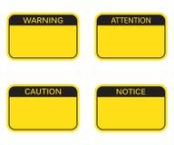 Grupo: Sinal de aviso vazio do retângulo, sinal da atenção, sinal do cuidado, sinal da observação ilustração stock