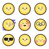 Grupo 1 Smiley do vetor, emoji Estilo liso, cor amarela Imagem do vetor Imagens de Stock Royalty Free