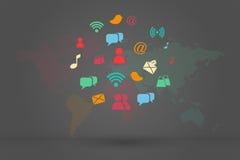 Grupo social do ícone dos meios Fotografia de Stock