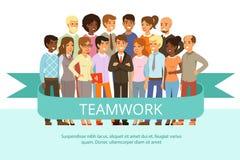 Grupo social en el trabajo Gente de la oficina en ropa casual Familia corporativa grande Caracteres del vector en estilo de la hi Imagen de archivo
