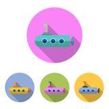 Grupo submarino do ícone Fotos de Stock Royalty Free