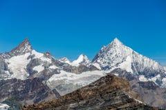 Grupo suizo de la montaña visto de la meseta Rosa, ` Aosta, Italia de Val d imágenes de archivo libres de regalías