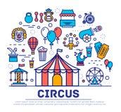Grupo superior da coleção dos ícones do esboço do circo da qualidade Bloco linear do símbolo do festival Molde moderno da mostra  Foto de Stock
