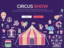 Grupo superior da coleção dos ícones do esboço do circo da qualidade Bloco linear do símbolo do festival Molde moderno da mostra  Foto de Stock Royalty Free