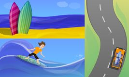 Grupo surfando da bandeira, estilo dos desenhos animados ilustração royalty free