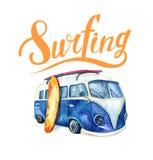 Grupo surfando tirado mão do oceano da aquarela Feriado da praia tropical Fotos de Stock Royalty Free