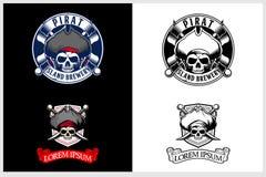 Grupo surpreendente e original do molde principal do logotipo do emblema do vetor do crânio do pirata ilustração royalty free
