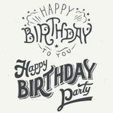 Grupo tipográfico tirado mão do projeto do feliz aniversario ilustração stock