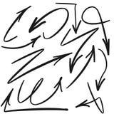 Grupo tirado carta branca do sinal das setas dos grafittis Imagem de Stock Royalty Free