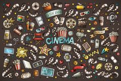 Grupo tirado dos desenhos animados da garatuja do cinema do vetor mão colorida de objetos Fotos de Stock Royalty Free