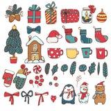 Grupo tirado dos desenhos animados da garatuja do vetor mão colorida de ano novo e objetos e símbolos do Natal Vinda do Xmas Para ilustração do vetor