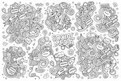 Grupo tirado dos desenhos animados da garatuja do vetor mão esboçado de Foto de Stock Royalty Free