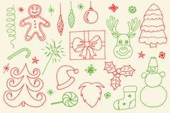 Grupo tirado dos desenhos animados da garatuja do vetor mão esboçado de objetos e de símbolos no Feliz Natal foto de stock royalty free
