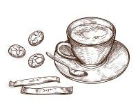 Grupo tirado mão, copo da bebida quente, cookies da aveia e açúcar de empacotamento ilustração do vetor