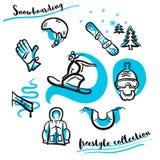 Grupo tirado mão da coleção do estilo livre da snowboarding ilustração royalty free