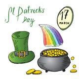 Grupo tirado mão da garatuja do dia do St Patricks, com o chapéu verde tradicional irlandês do duende e um potenciômetro de moeda ilustração royalty free