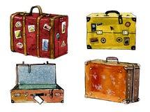 Grupo tirado mão da ilustração da aquarela de malas de viagem coloridas dos desenhos animados ilustração stock