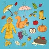 Grupo tirado mão da ilustração do outono Ilustração Royalty Free