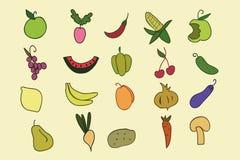 Grupo tirado mão das frutas e legumes da cor Fotografia de Stock