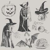 Grupo tirado mão de Dia das Bruxas do vetor Ilustração do vintage Imagem de Stock Royalty Free