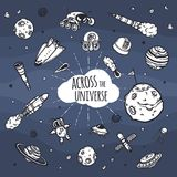 Grupo tirado mão de garatujas da astronomia ilustração stock