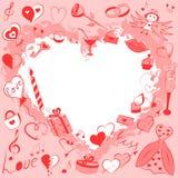 Grupo tirado mão de símbolos do dia de Valentim Desenhos engraçados da garatuja de corações, de presentes, de anéis, de balões e  Fotos de Stock Royalty Free