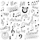 Grupo tirado mão de símbolos e de estilos de música Clave de sol, Bass Clef, notas e lira da garatuja Rotulação dos azuis, eletrô Imagens de Stock