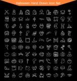 Grupo tirado mão do ícone de Dia das Bruxas Imagem de Stock Royalty Free