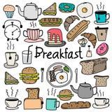 Grupo tirado mão do café da manhã do vetor da garatuja Imagem de Stock Royalty Free