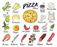 Grupo tirado mão do esboço do menu da pizza Molde do projeto de preparação da pizza com queijo, azeitonas, salame, cogumelos, tom Imagens de Stock Royalty Free