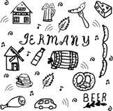 Grupo tirado mão do estilo da garatuja de elementos de Alemanha ilustração royalty free