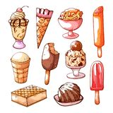 Grupo tirado mão do gelado e da sobremesa ilustração do vetor