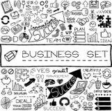 Grupo tirado mão do negócio de ícones ilustração stock