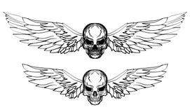 Grupo tirado mão do vetor do crânio Tatuagem do crânio da etiqueta tatuagem do estilo do esboço Foto de Stock Royalty Free