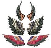 Grupo tirado mão do vetor da asa tatuagem colorida da asa da etiqueta Foto de Stock