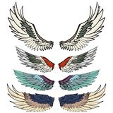 Grupo tirado mão do vetor da asa tatuagem colorida da asa da etiqueta Fotografia de Stock