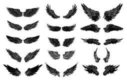 Grupo tirado mão do vetor da asa tatuagem colorida da asa da etiqueta Imagens de Stock Royalty Free