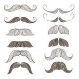Grupo tirado mão do vetor de bigode Imagens de Stock