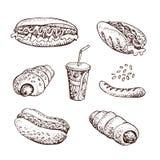 Grupo tirado mão do vetor de fast food Cachorro quente, salsicha na massa, grade, soda Imagem de Stock