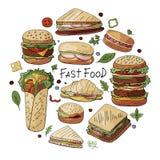 Grupo tirado mão do vetor de tipos diferentes de hamburgueres, de sanduíches e de cachorros quentes ilustração royalty free