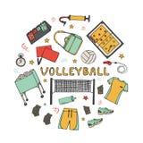 Grupo tirado m?o dos ?cones do voleibol da garatuja ilustração royalty free