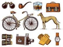 Grupo tirado mão dos acessórios do cavalheiro Era vitoriano Binóculos e câmera, bicicleta ou bicicleta, pasta, relógio de pulso ilustração do vetor