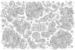 Grupo tirado mão dos desenhos animados da garatuja do vetor de ondas e Imagens de Stock Royalty Free