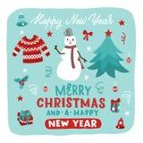 Grupo tirado mão dos desenhos animados do Natal com rotulação Vector a ilustração com boneco de neve, camiseta, árvore de Natal e fotografia de stock royalty free