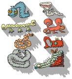 Grupo tirado mão dos desenhos animados dos parasita Foto de Stock Royalty Free