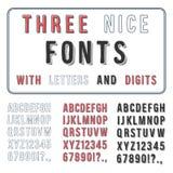 Grupo tirado mão da fonte. Alfabeto da escrita. ABC com dígitos Imagens de Stock