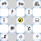 Grupo tirado mão do logotipo do vetor das ilustrações das crianças Imagem de Stock Royalty Free