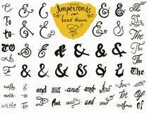 Grupo tirado mão dos Ampersands e dos lemas para projetos do logotipo e da etiqueta Coleção dos símbolos indicados por letras da  Imagens de Stock