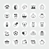 Grupo total do ícone do vetor da família e da casa Fotografia de Stock Royalty Free