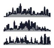 Grupo três de skyline da cidade Foto de Stock